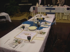 Table Being Prepared for Passover Seder Dinner